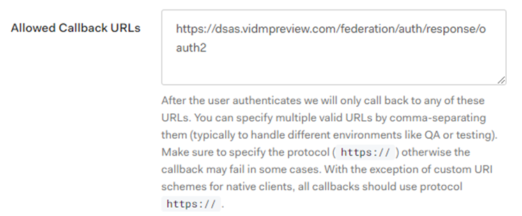 Callback URL section